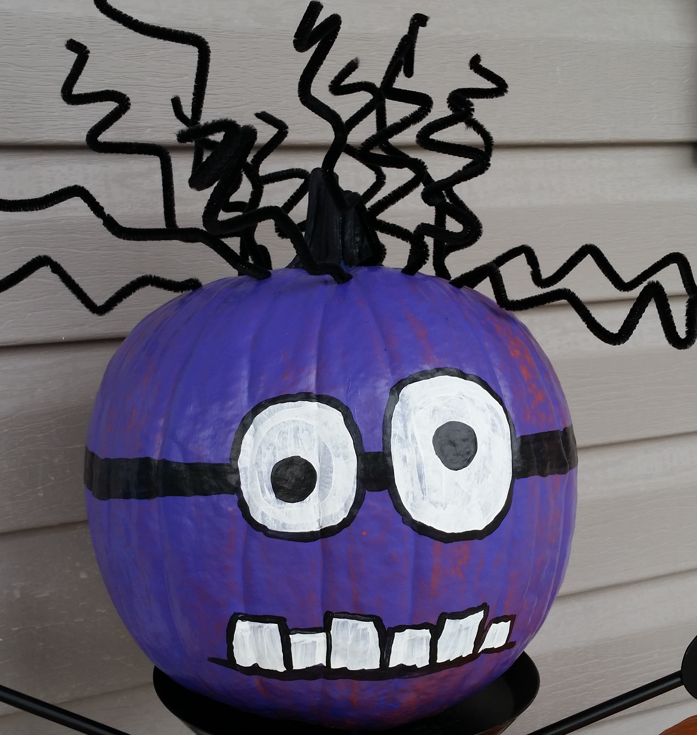 Painted pumpkin with crazy hair