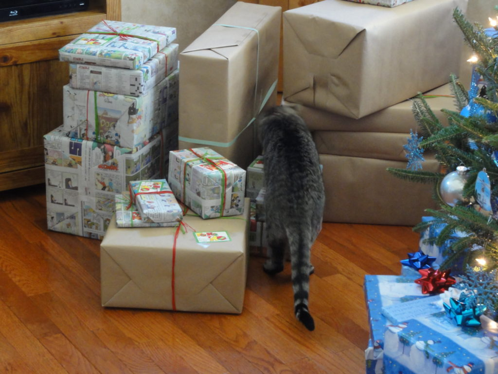 Cat crawling through a stack of presents