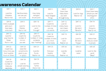 Awareness Month Calendar
