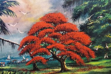 Painting of a tree by Robert L. Lewis