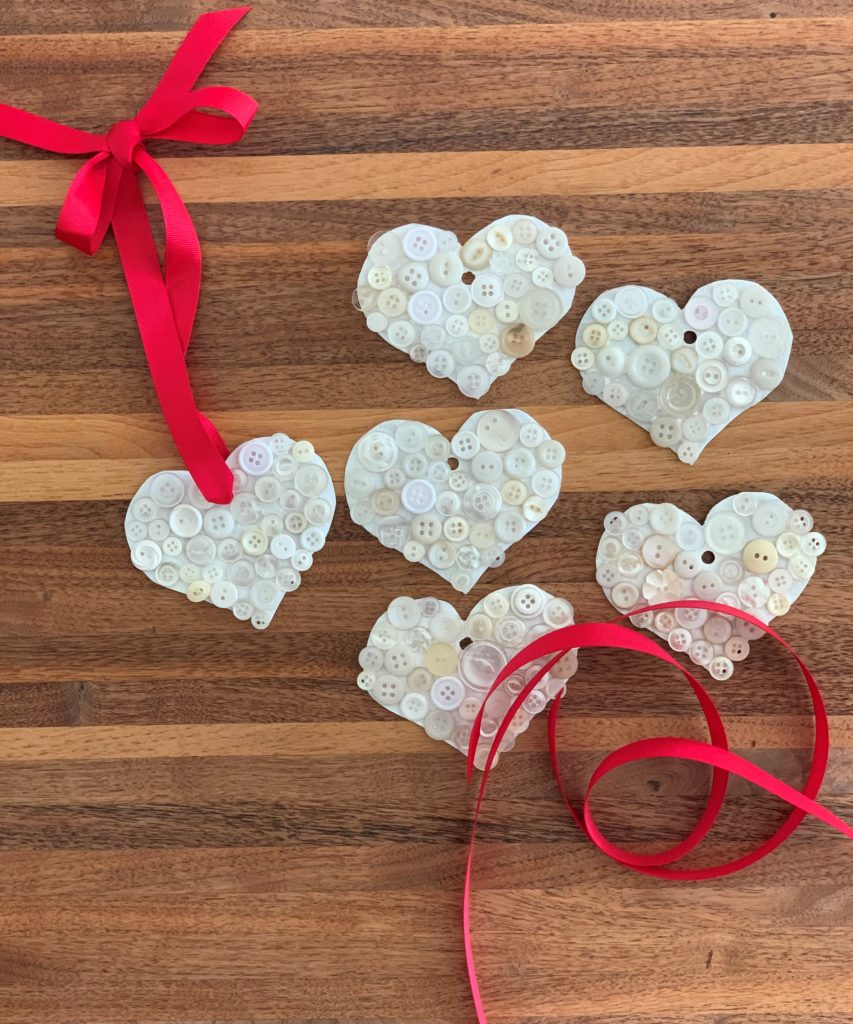 Thoughtful Gifting's handmade hearts with buttons and ribbon.