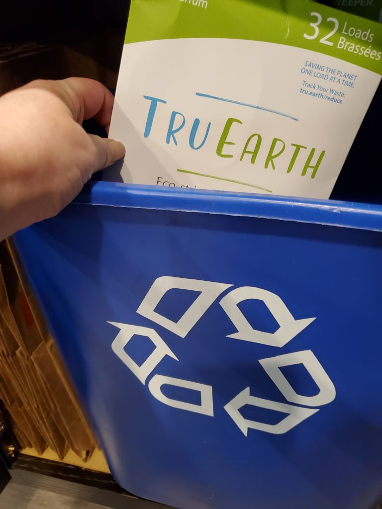Tru Earth Laundry Strips packing can be recycled