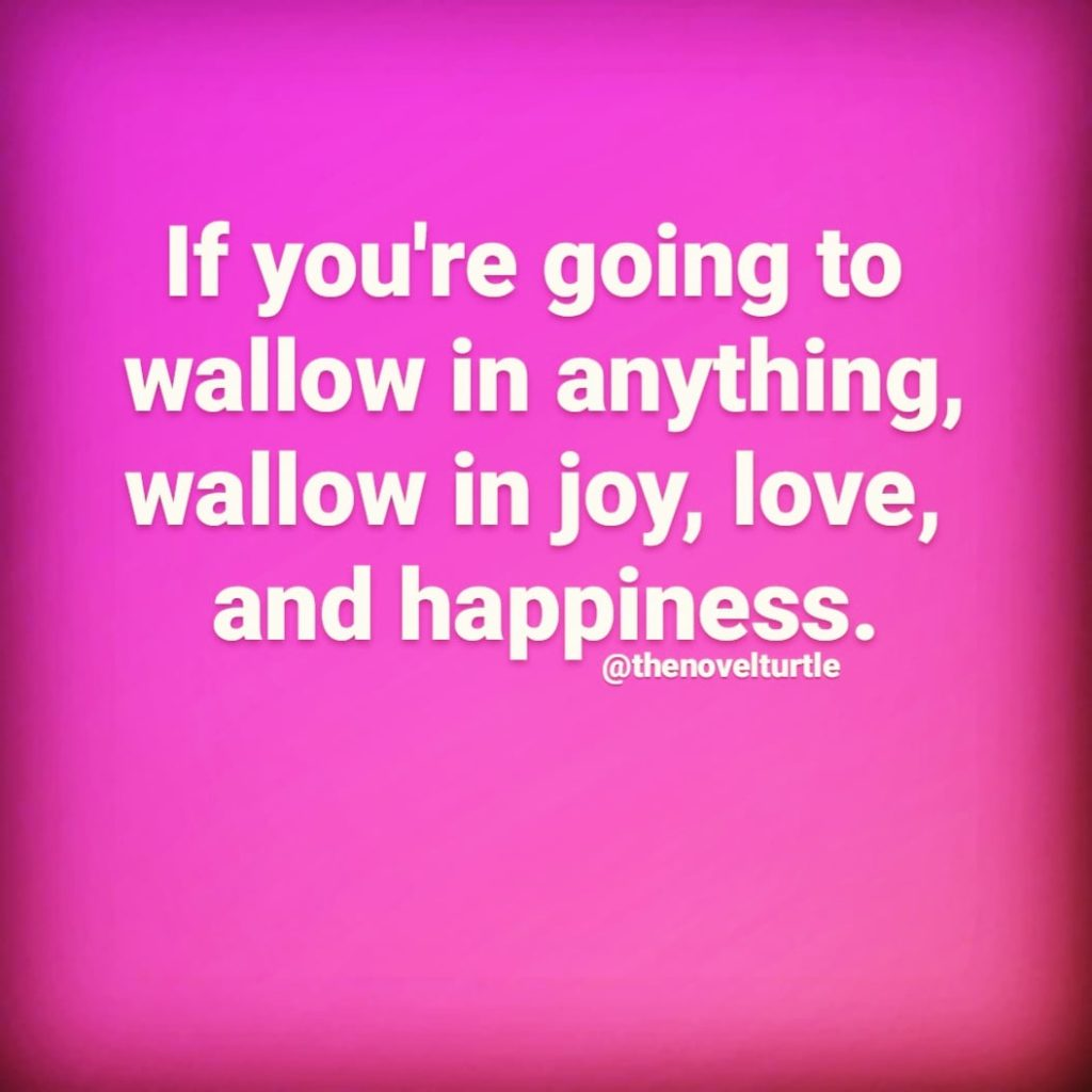 Quote by @thenovelturtle - If you're going to wallow in anything, wallow in joy, love, and happiness.
